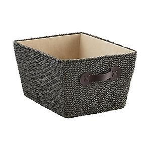 Medium Crochet Bin Grey Sku 10063633 15 3 4 X 12 1 4 X 8 3 4 H Storage Bins Wicker Baskets Storage Fabric Bins