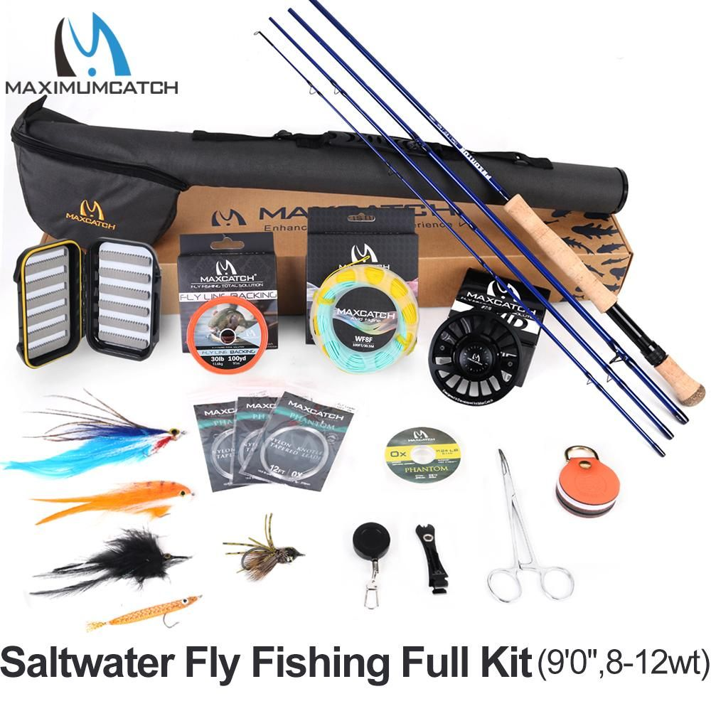 Maximumcatch Maxcatch Saltwater Fly Fishing Full Kit 2 7m Fly Fishing Rod 8 12wt Cnc Machined Aluminum Fly Reel Saltwater Flies Fishing Rod Fly Fishing Rods