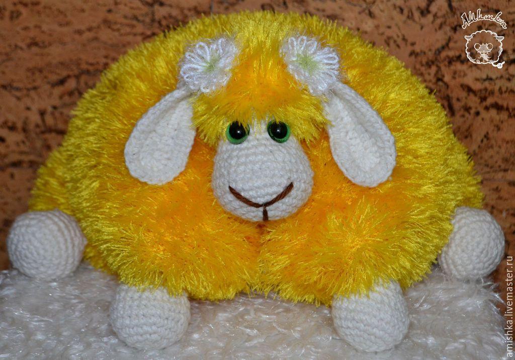 Купить Барашка-подушка - игрушка ручной работы, вязаная игрушка, барашка, игрушка, игрушка в подарок