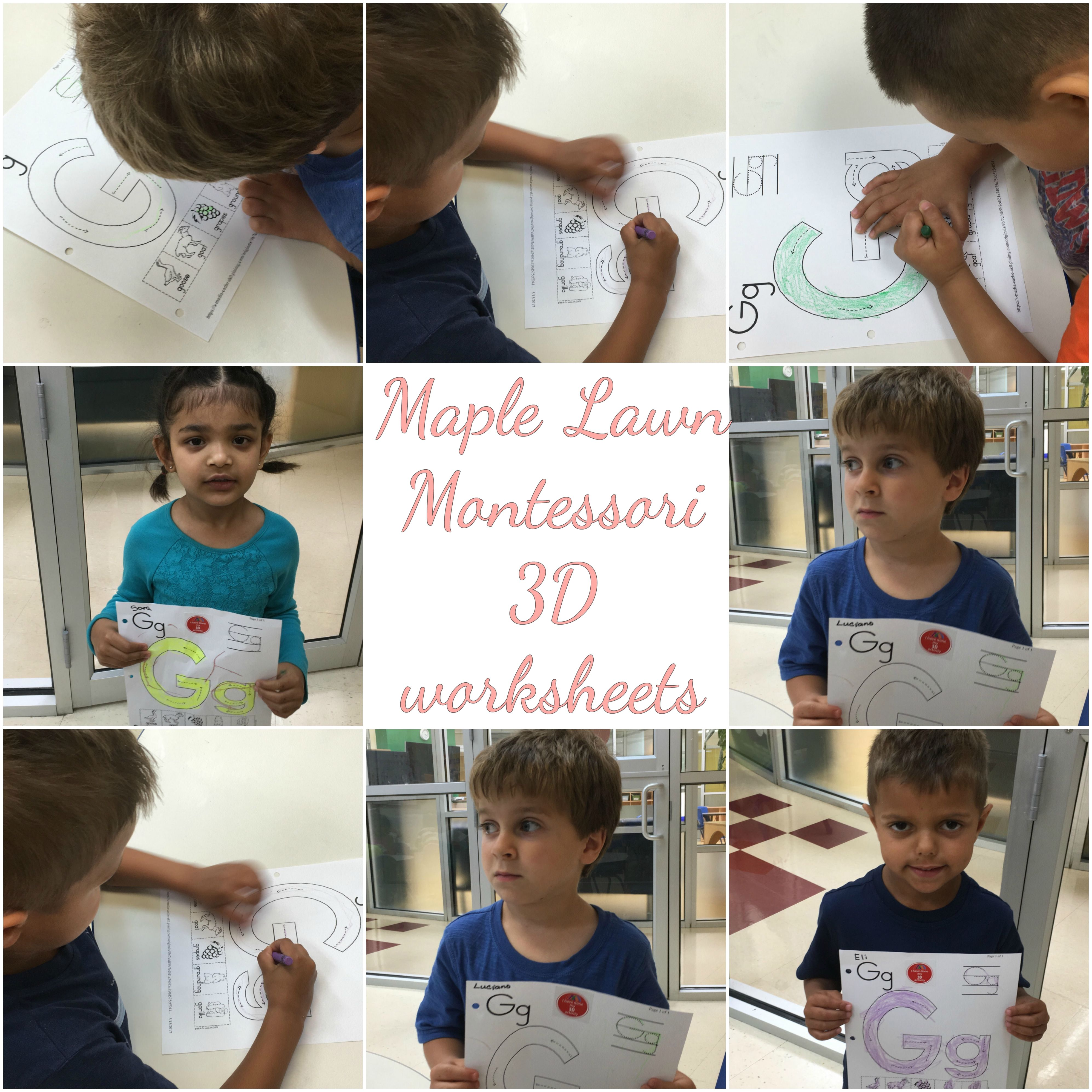 Pre-K class created their 3D worksheets at Maple Lawn Montessori ...