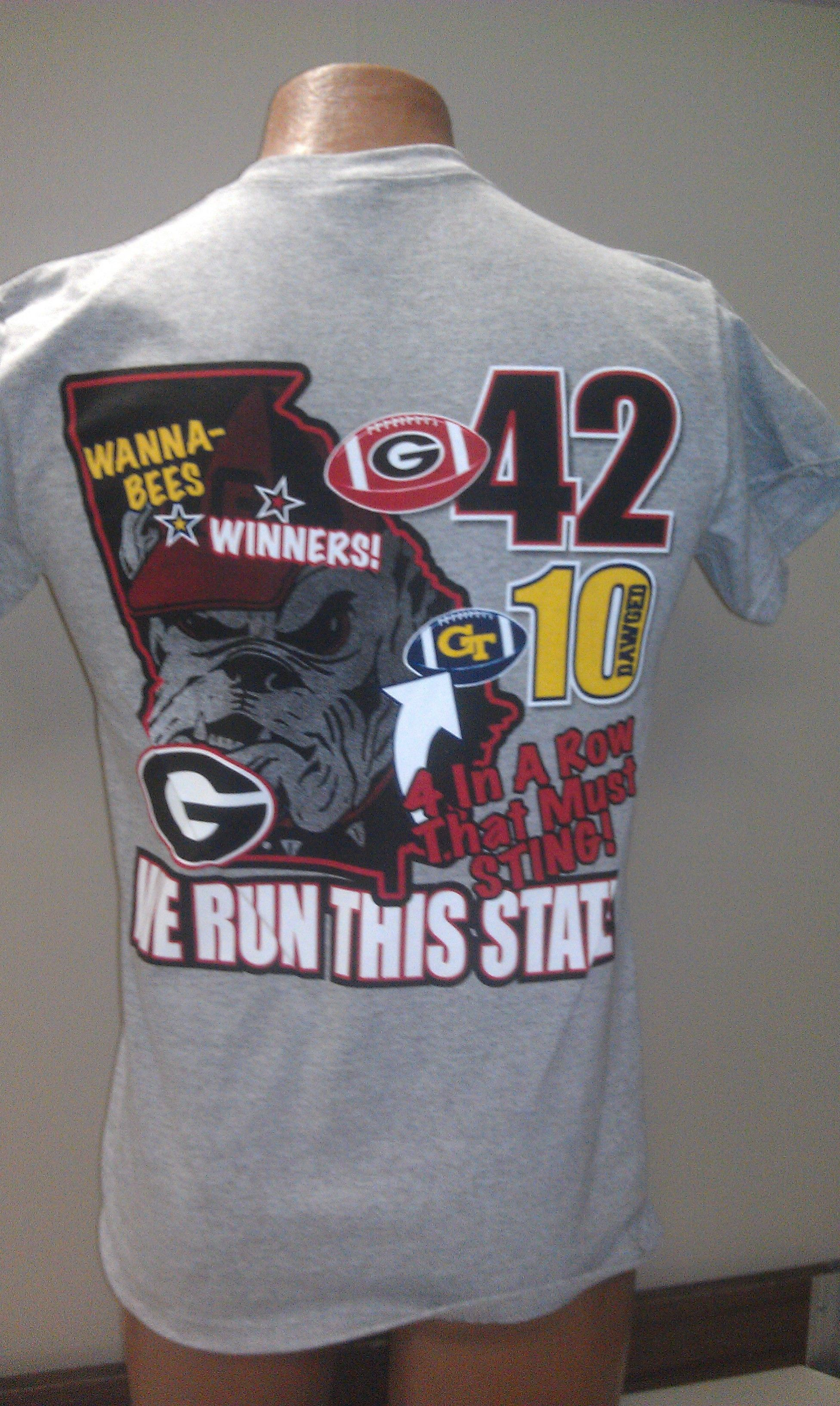 UGA beats Tech score shirt ls on ash 16.99