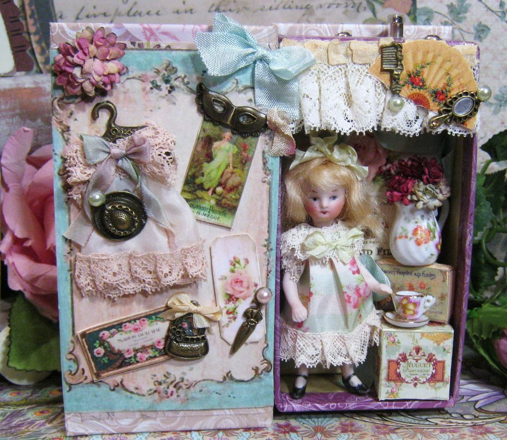"3 1/2"" All Bisque Antique French Mignonette (Swivel neck) little doll house doll in Music Display box"