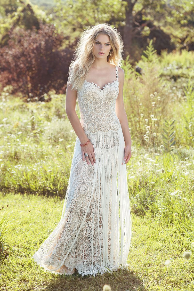 Lace jacket over wedding dress january 2019 Lillian West  Style  Venice Lace Gown with Fringe Skirt