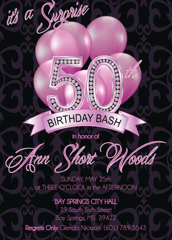 50th Birthday Invitation - Adult 50th Birthday Invitation - DIY or - birthday invitation for adults