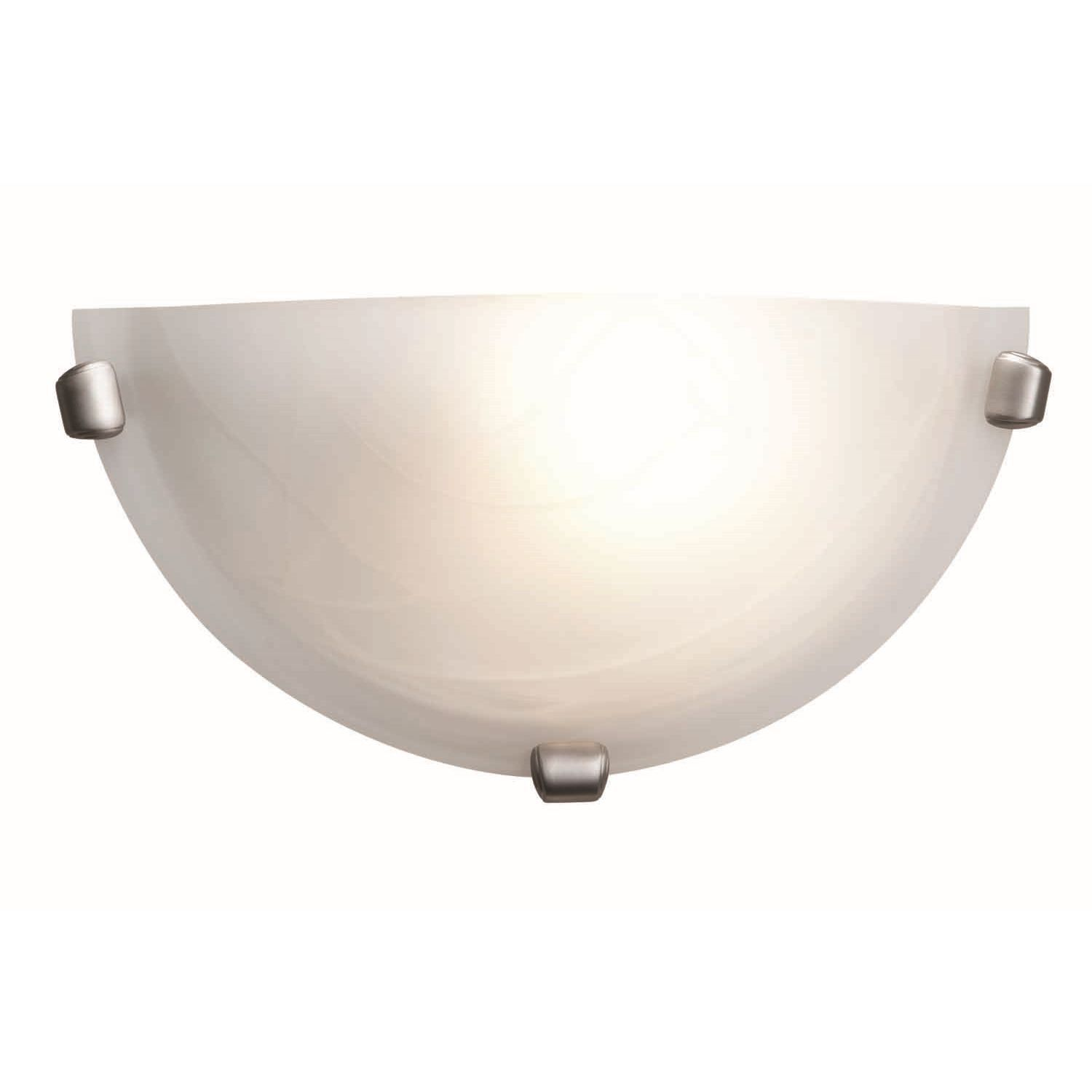 This stylish wall light sconce provides a versatile accent for your lighting and decor. Durably crafted and featuring an alabaster shade for softer illumination, this brushed-steel wall sconce is the perfect fixture for your home or office.