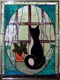 Stained Gl Cat In Window