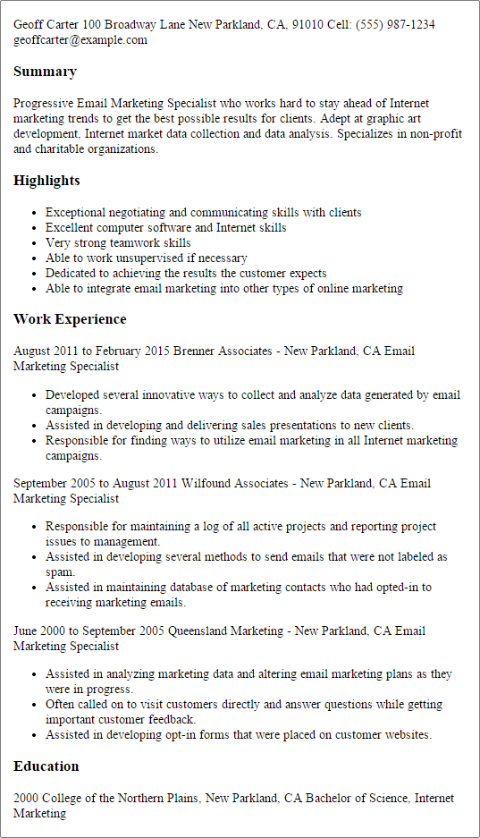 Resume Templates Email Marketing Specialist  Resume