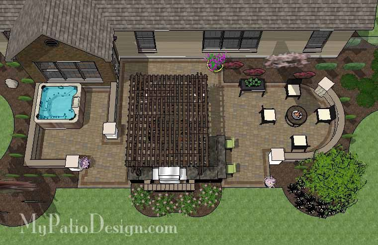 Our Dreamy Backyard Patio Design with Hot Tub, Pergola, Grill Station/Bar and Fire Pit area will seamlessly help you to turn your backyard into a beautiful oasis. #patiodesign