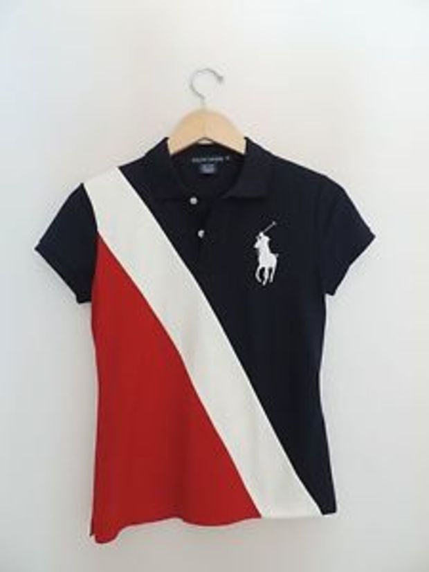 Women 39 s ralph lauren red white blue america stripe for Red white striped polo shirt