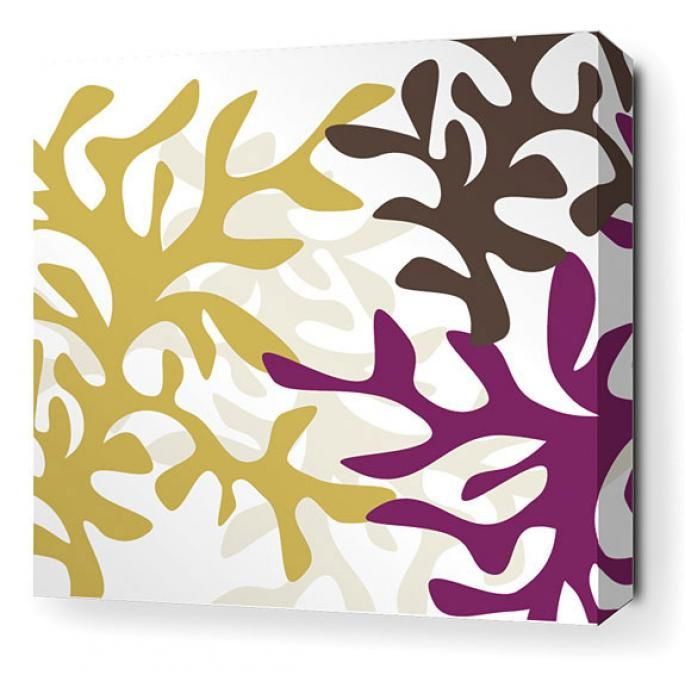 Reef in Plum Stretched Wall Art -- Like this color palette.