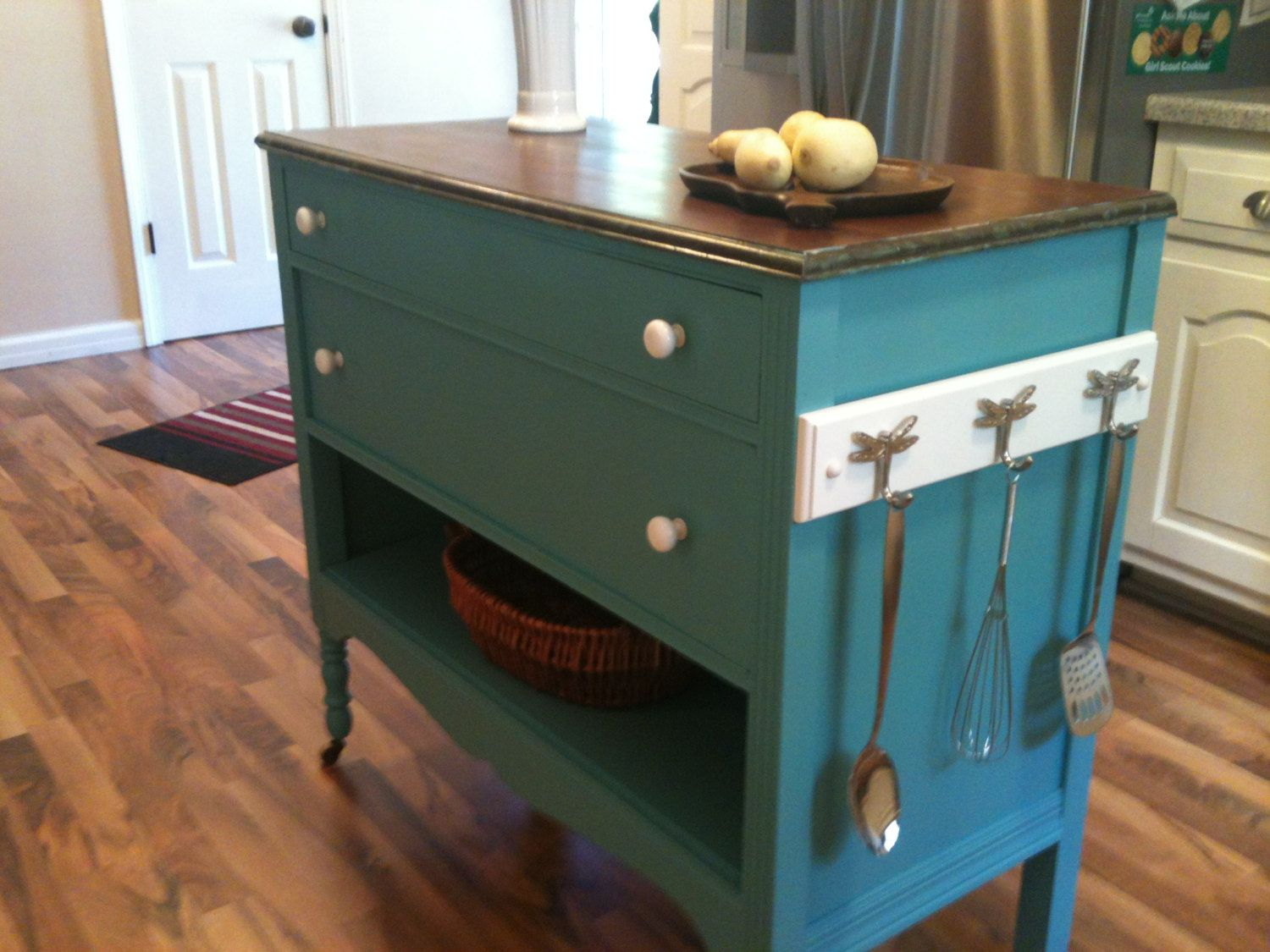 Repurposed Upcycled Dresser Made Into Charming Turquoise Aqua Kitchen Island