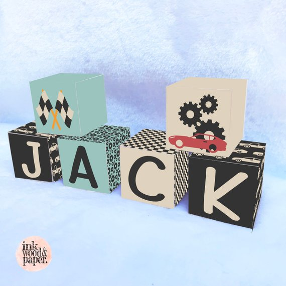 Boy Cars Racing Modern Name Blocks Letters Nursery Decor Personalized Wooden