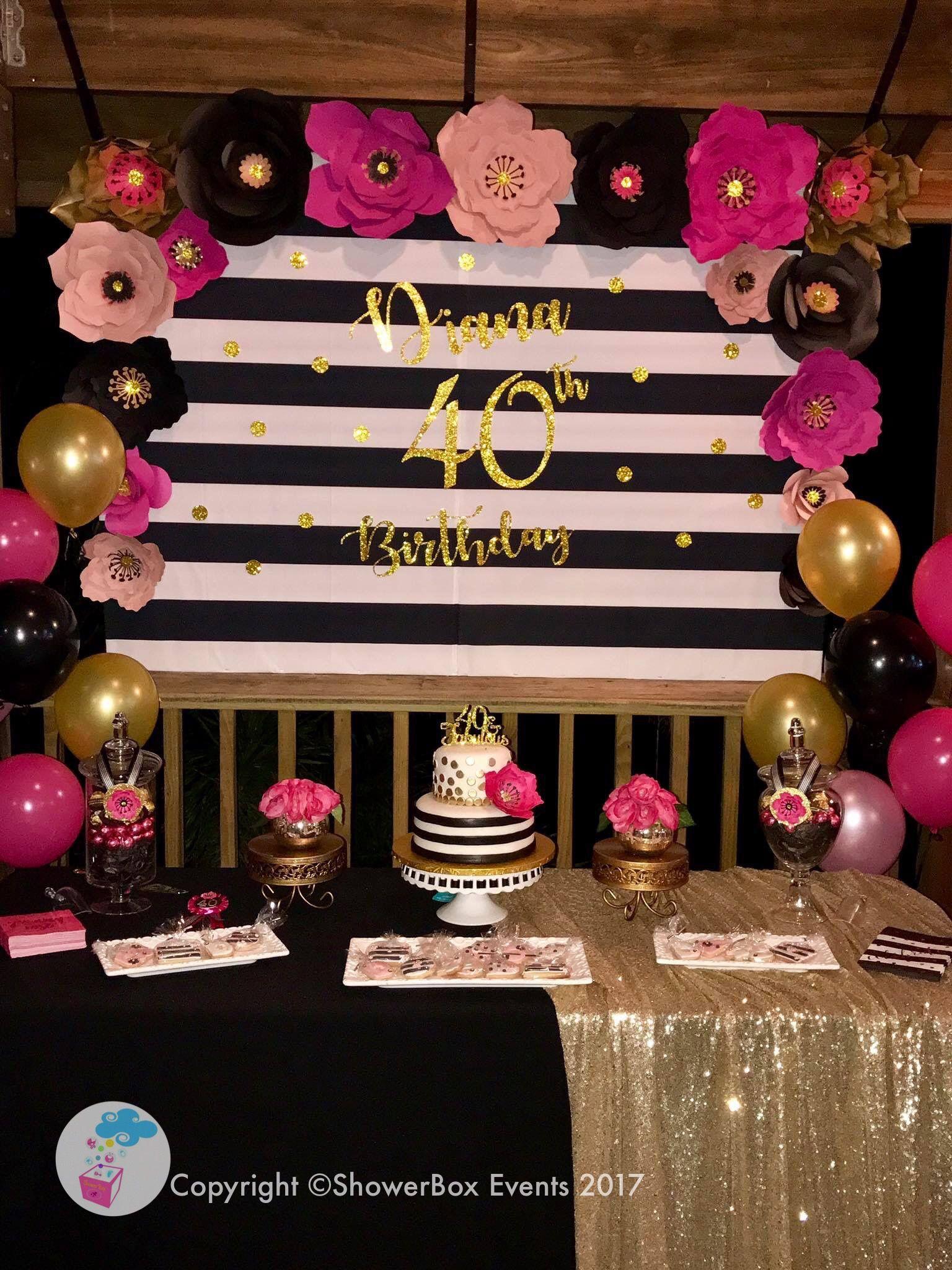 40th Birthday Showerbox Events 2017 Like Us On Fb Myshowerbox Showerboxdesigns Sh 40th Birthday Decorations 40th Birthday Party Themes 40th Birthday Parties