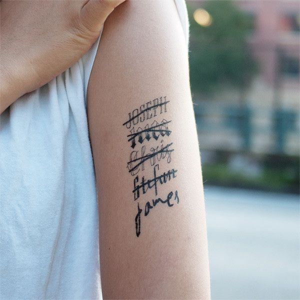 Hand drawn temporary tattoo by Tattly. Also available in girls' names!
