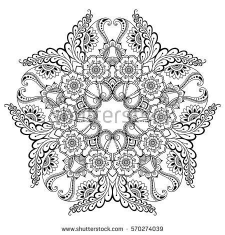 Vector henna tatoo mandala. Mehndi style. Decorative pattern in ...