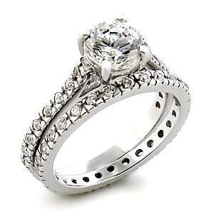 Christy: 2.1ct Ice on Fire CZ Eternity Wedding Ring Set, White HGe - Trustmark Jewelers