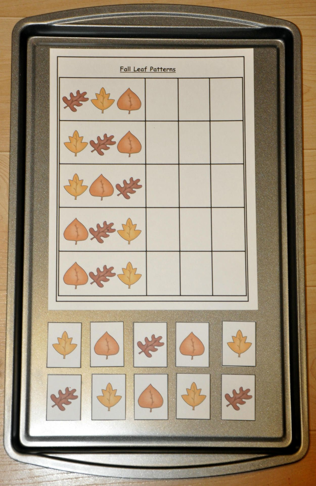 Fall Leaves Patterns Cookie Sheet Activity Students Sort