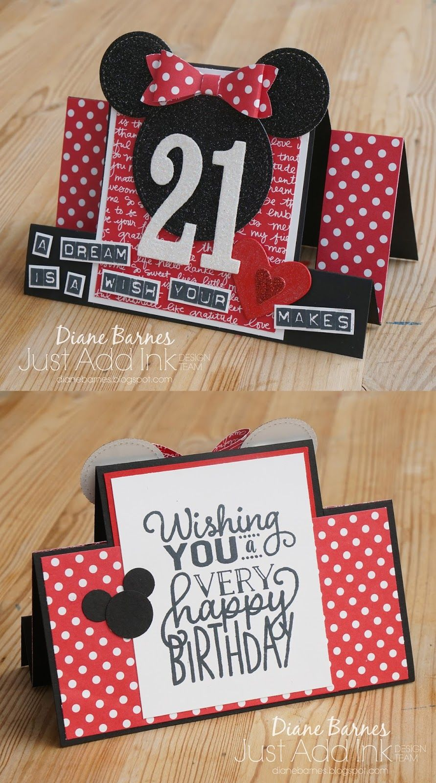 Handmade Disney Minnie Mouse Themed 21st Centre Step Birthday Card Using Stampin Up Labeler Alphabet 21st Birthday Cards Birthday Cards Diy 18th Birthday Cards