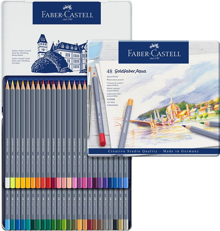 Faber Castell Goldfaber Tin Of 48 Aqua Watercolor Pencils Faber