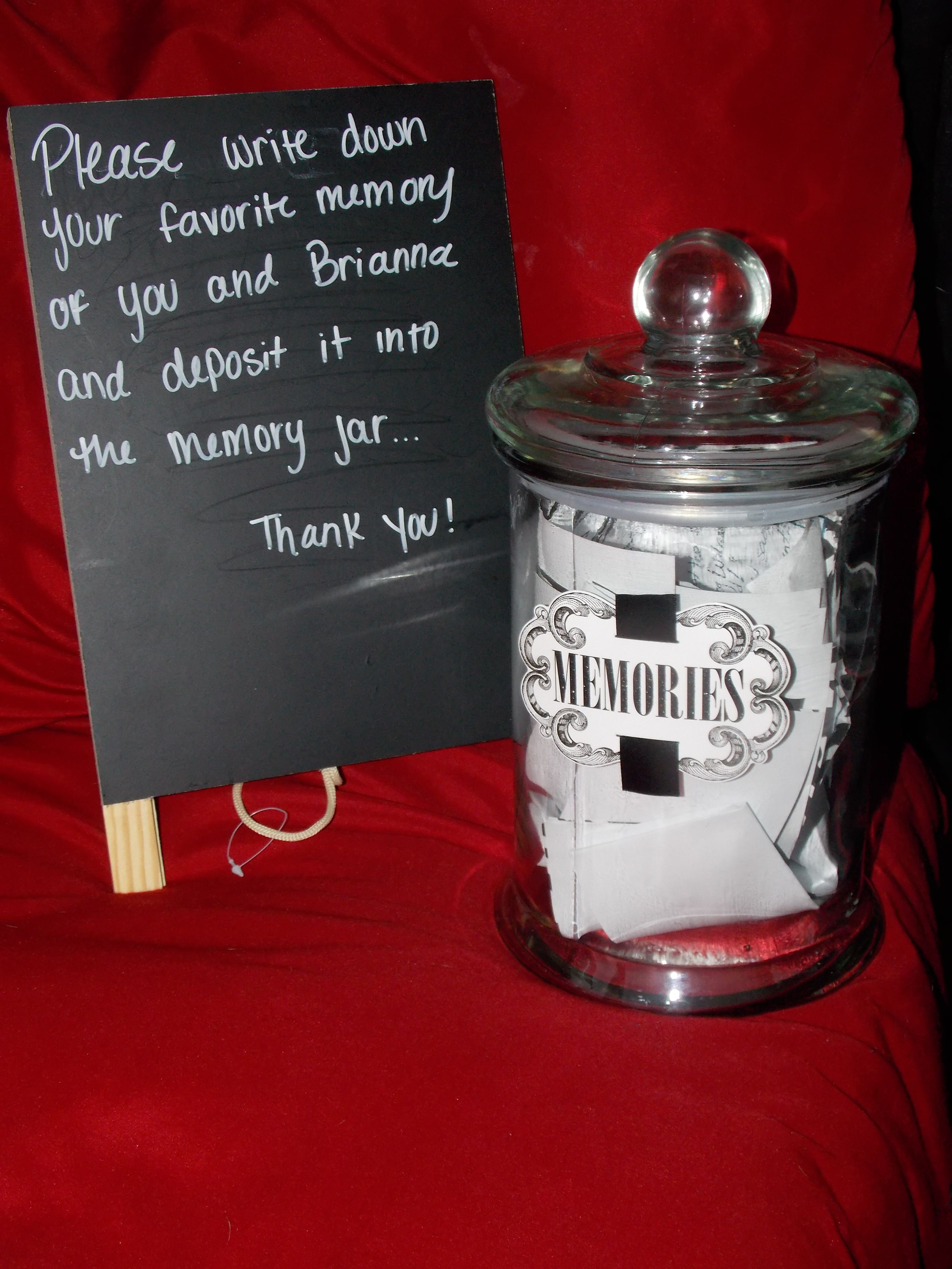 The Memory Jar My Mom Made For My Graduation Party Everyone Put There Favorite Memory Of Me Graduation Party High Graduation Party Senior Graduation Party