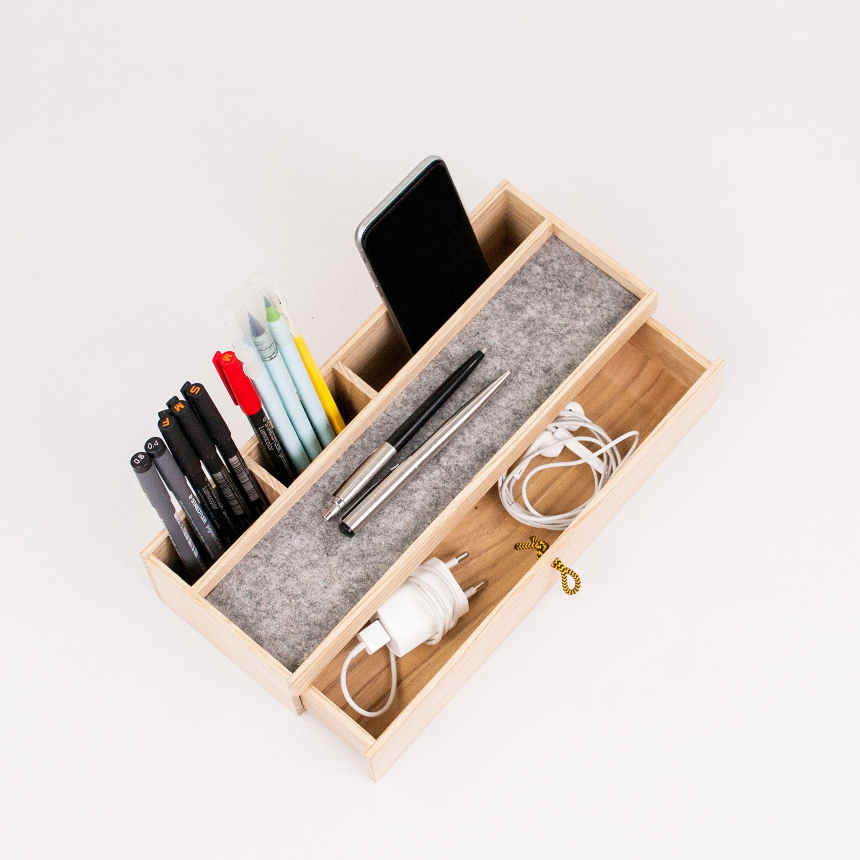 Wood Desk Organizer With Drawer Modern Office Desk Organization