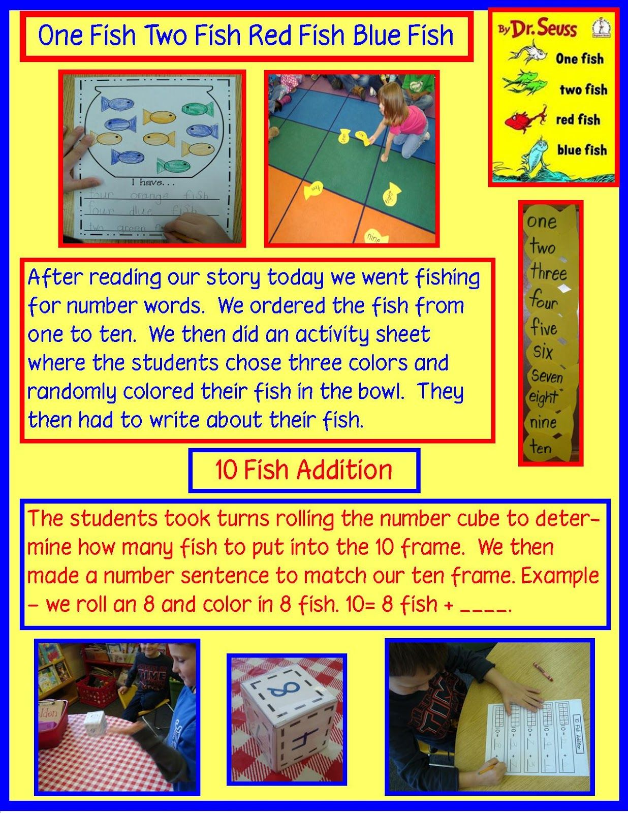 Golden Gang Kindergarten Dr Seuss Use Book One Fish Two Fish Red Fish Blue Fish By Dr