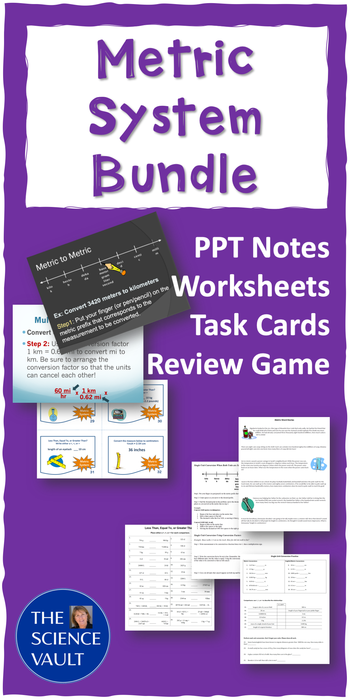 Metric System Notes Worksheets Task Cards And Review Game