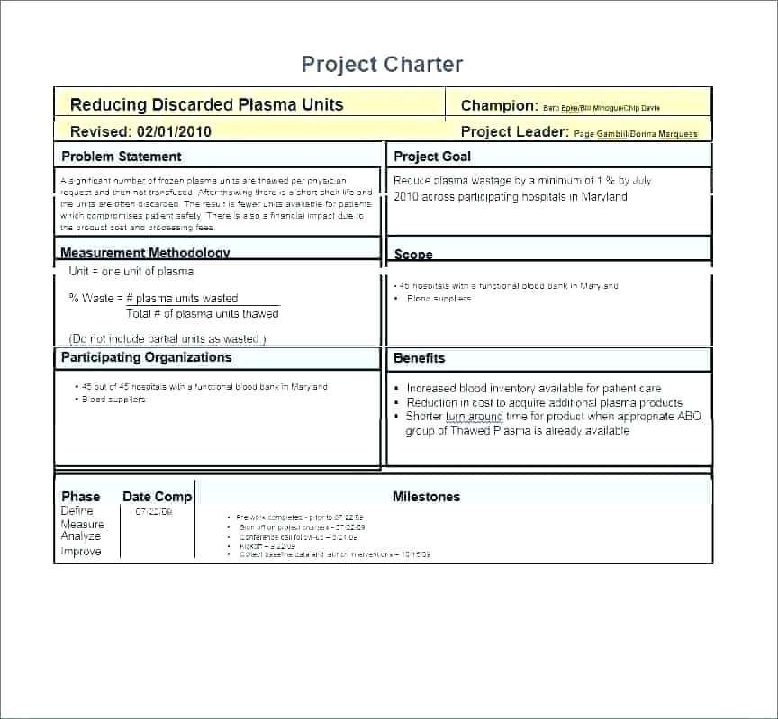 29 Six Sigma Project Templates Project Charter Problem