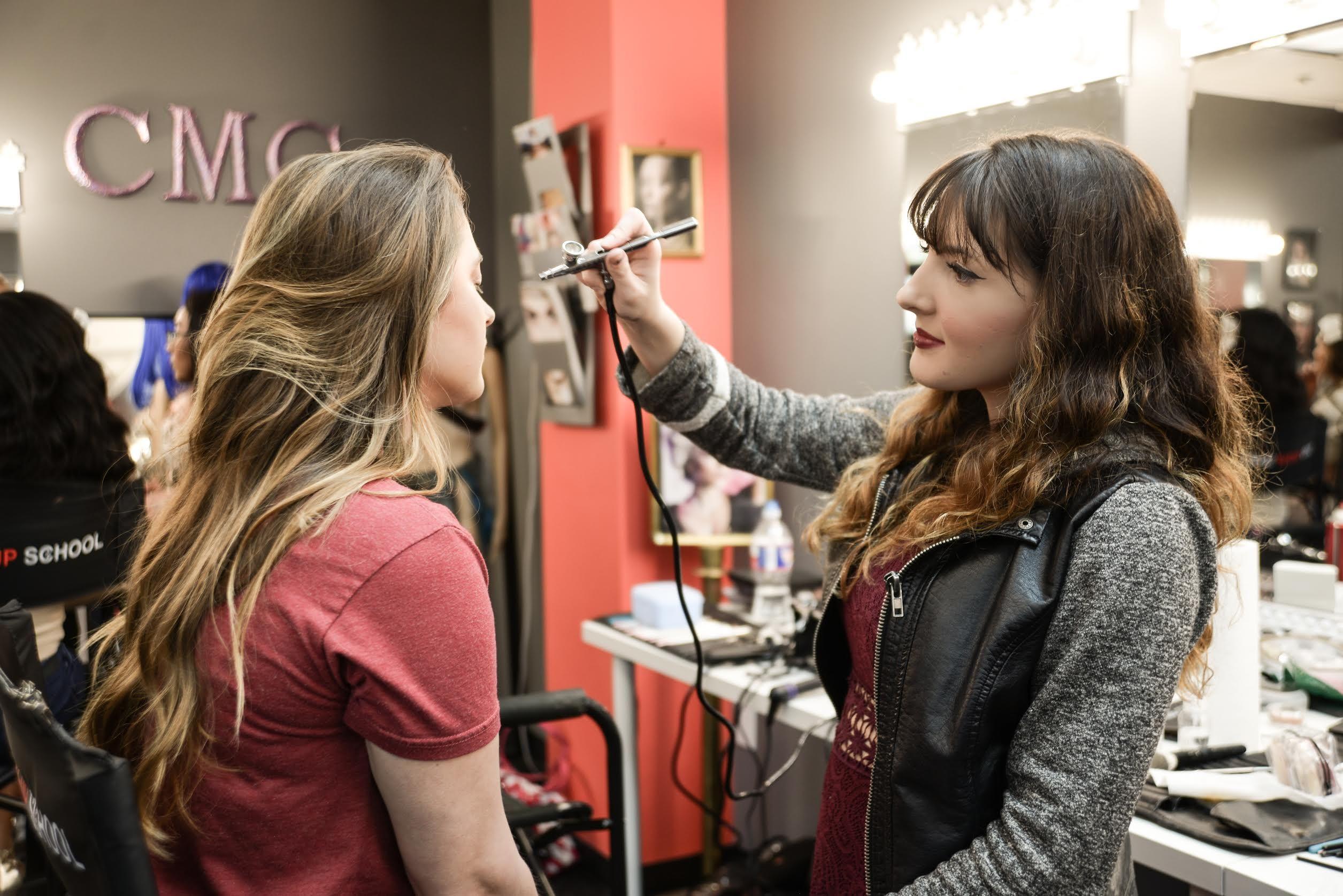 Airbrush makeup training at CMC Makeup School