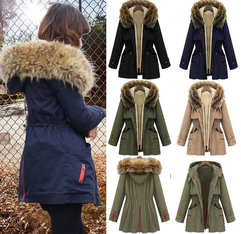 Women's Thick Military Jacket Fleece Fur Hood Long Winter Coat Fur ...