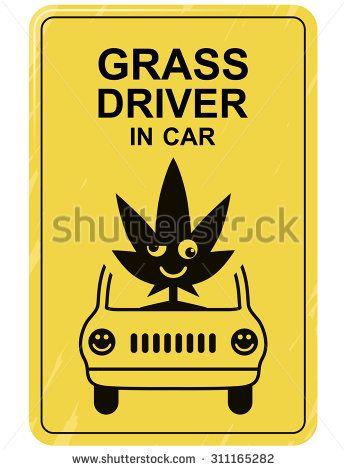 Funny car sticker grass driver in car crazy symbol for bumper sticker