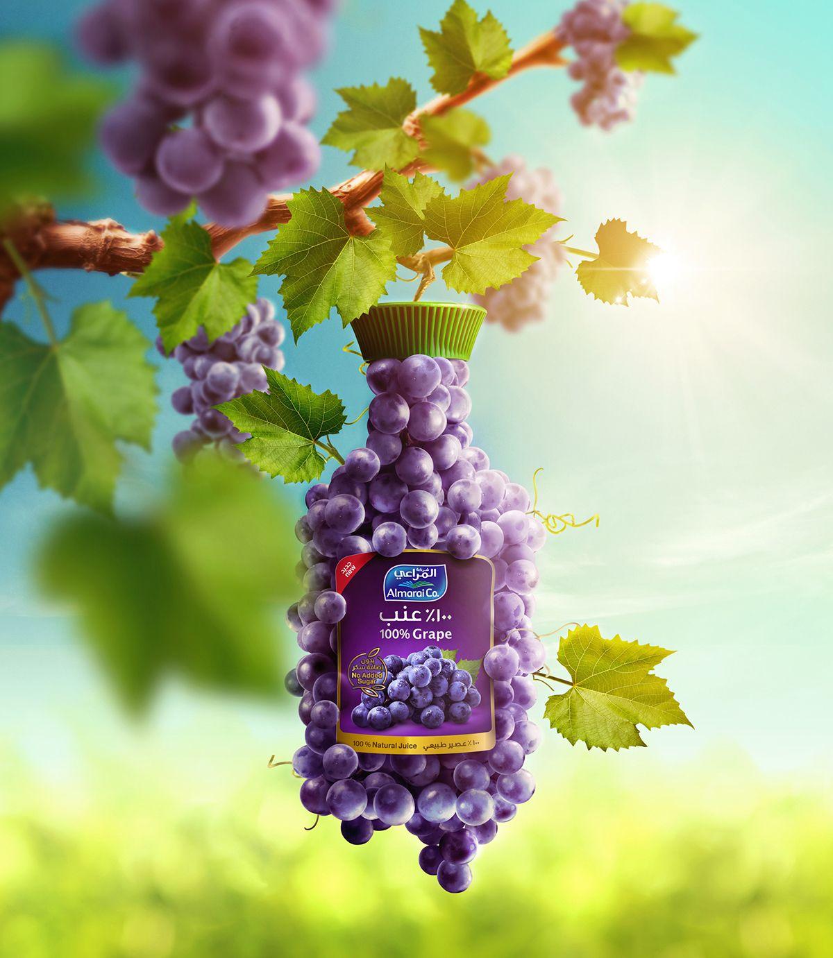 Almarai Natural Grape On Behance Creative Poster Design Graphic Design Advertising Ads Creative