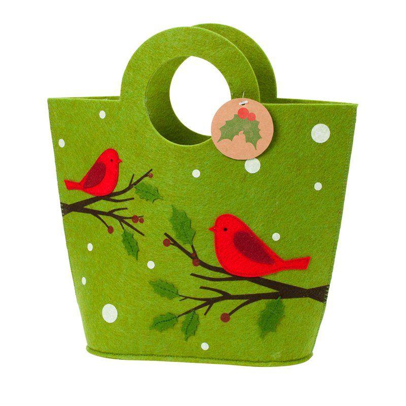Green Birds Felt Gift Bag - so cute! #indigo # ...