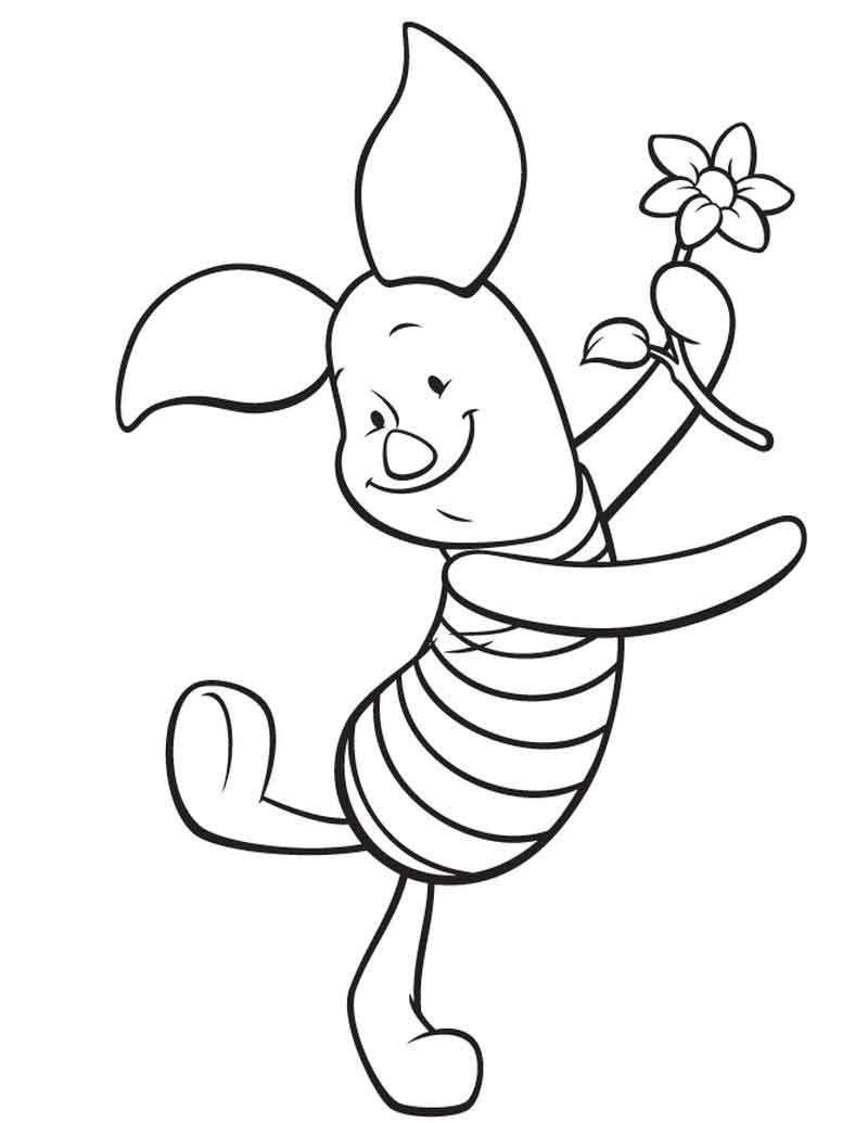 Free Piglet Coloring Page Buku Mewarnai Sketsa Kartun