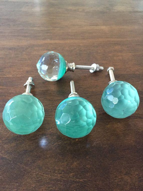 Round Flare Cut Glass Turquoise Aqua Knob Drawer Pull ~ Home Decor ...