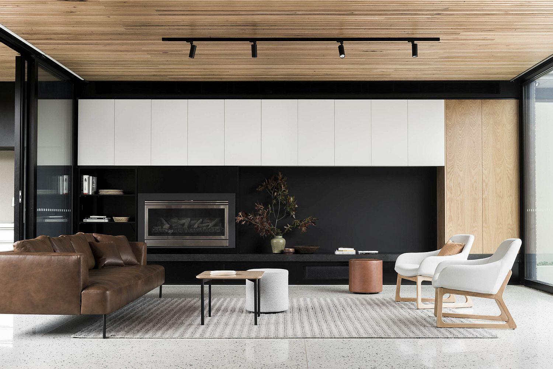 Trio Of Tranquil Yards Shape Contemporary Aussie House Meuble  # Creer Un Meuble Tv