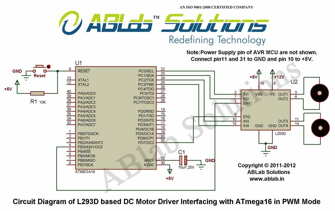 L293d Based Dc Motor Driver Interfacing With Avr Atmega16 Circuit For Microcontroller In Pwm Mode Diagram