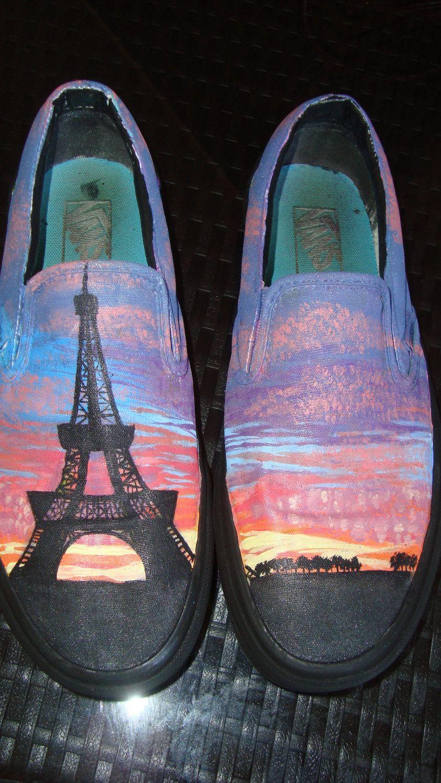 f4482f5358 Parisian Sunset Hand Painted Vans.  65.00