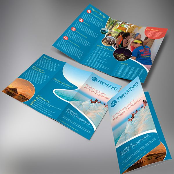 Contest winning design for Bayond Student Travel trifold brochure - gate fold brochure mockup