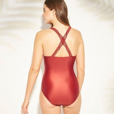 02b9a1d52b8a7 Women s Shirred Macrame Strap One Piece Swimsuit - Kona Sol Tomatillo Red XL