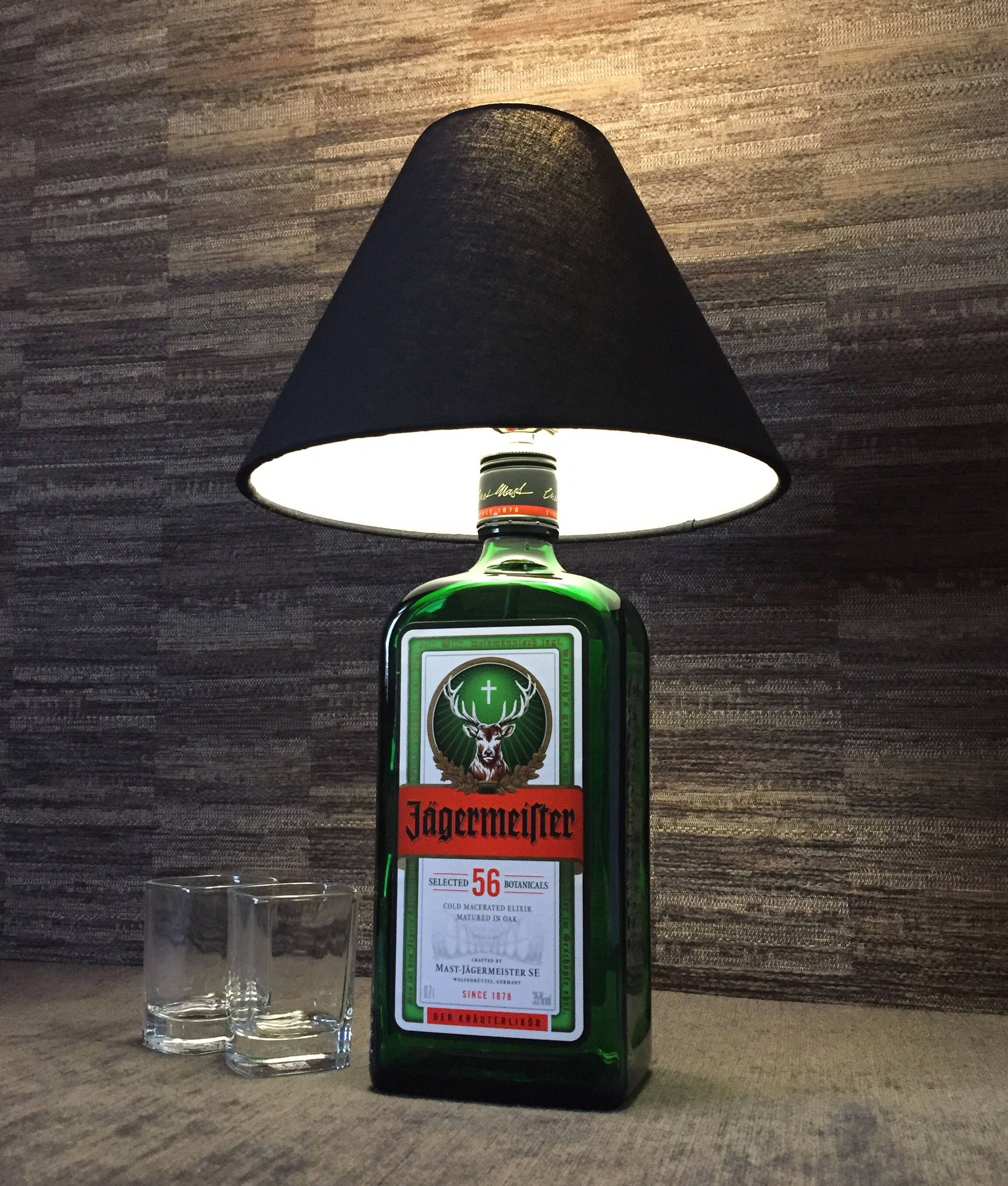 This Upcycled 70Cl Jagermeister Bottle Makes A Great Table Or