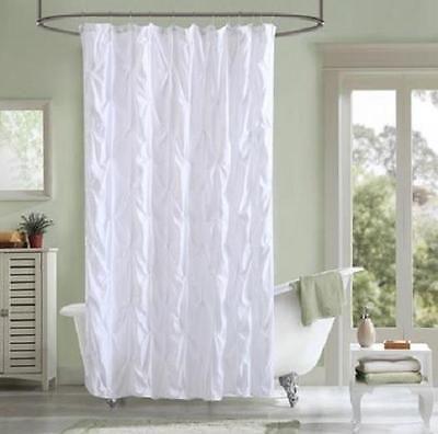 Gorgeous Modern White Textured Pintucked Pintuck Fabric Shower