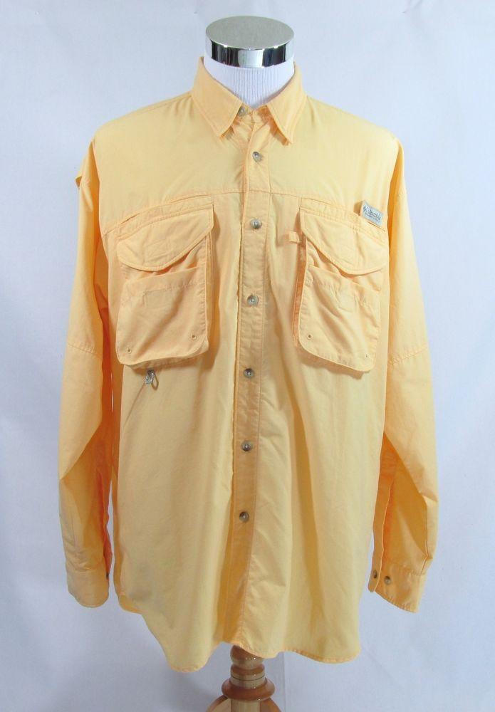 Columbia PFG Vented Long Sleeve 100% Nylon Yellow Men's Medium Fishing Shirt #Columbia #VentedFishingShirt