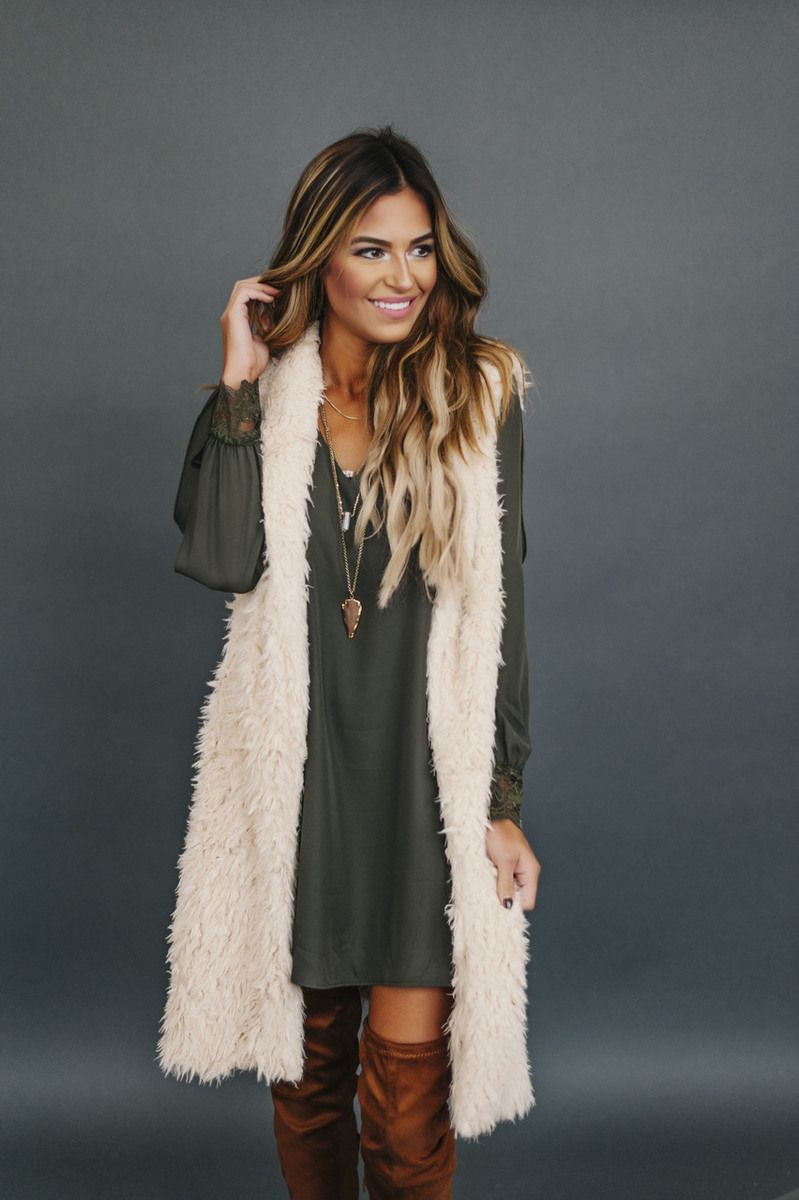 3ed427c4370 Cream Long Faux Fur Vest - Dottie Couture Boutique