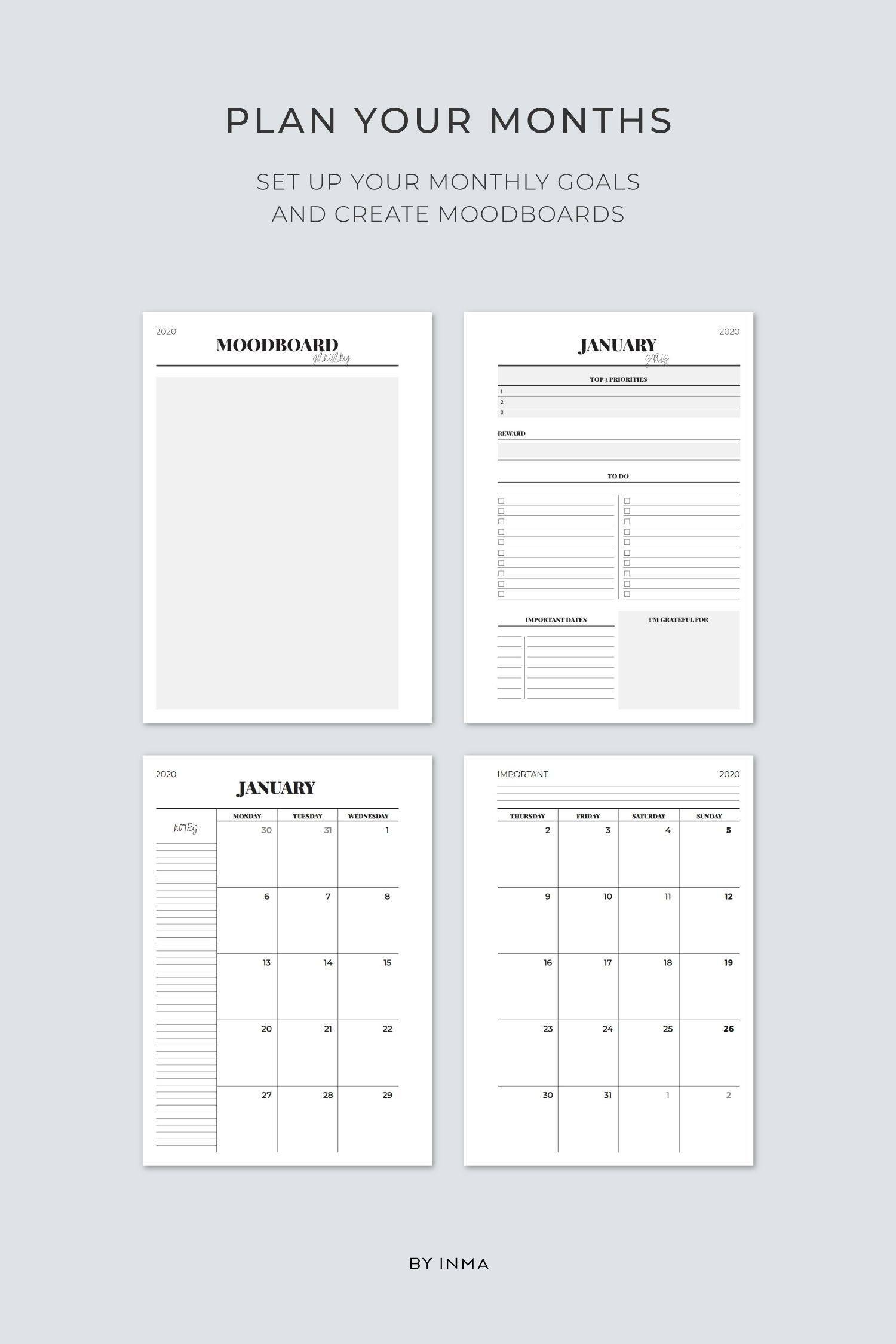 2019 2020 Planner Printable Filofax A5 Inserts Academic Planner
