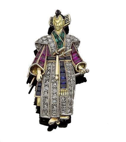 A gem-set Samurai brooch
