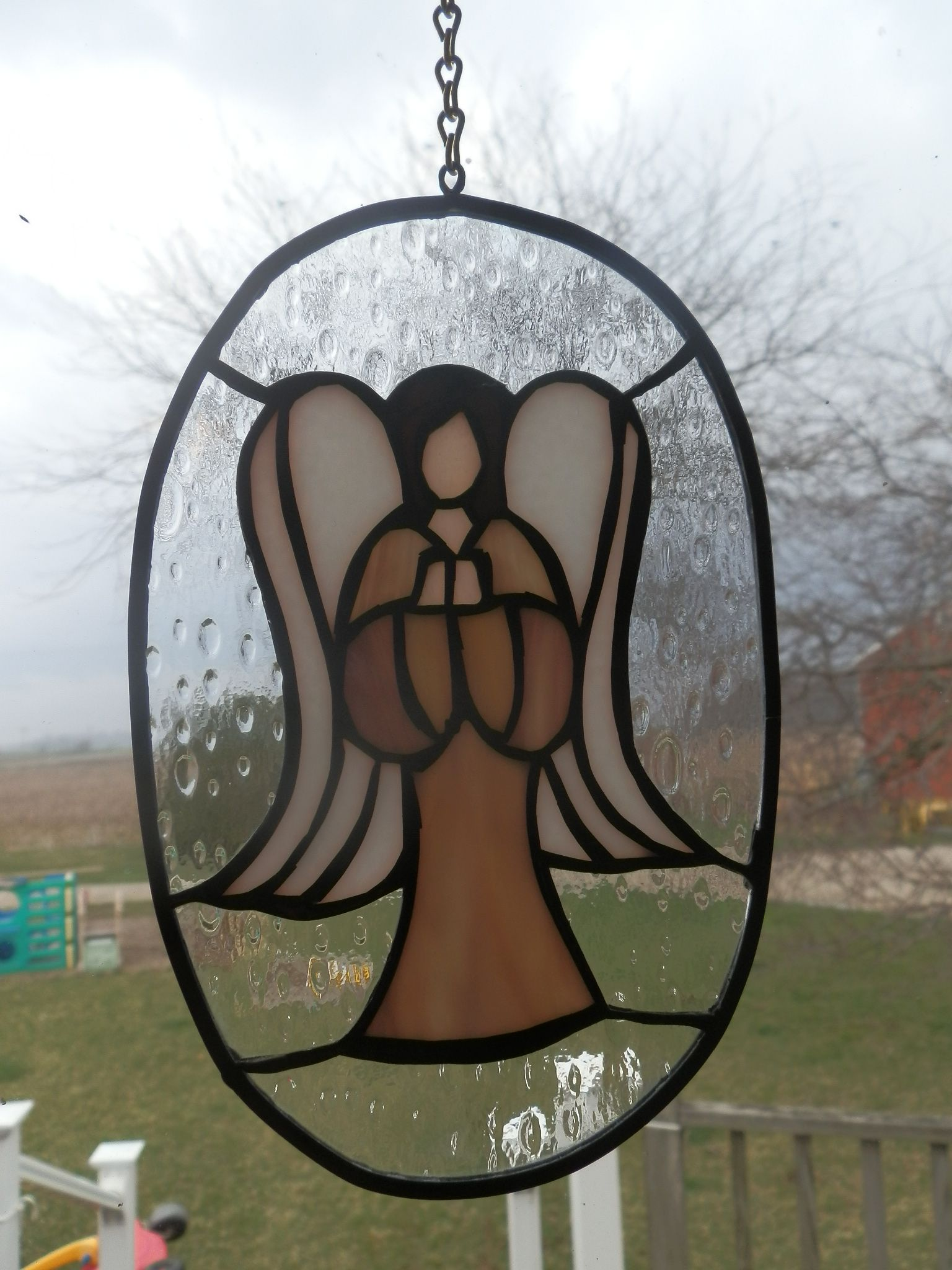 Custom stained glass done in Huntington Indiana. small angle