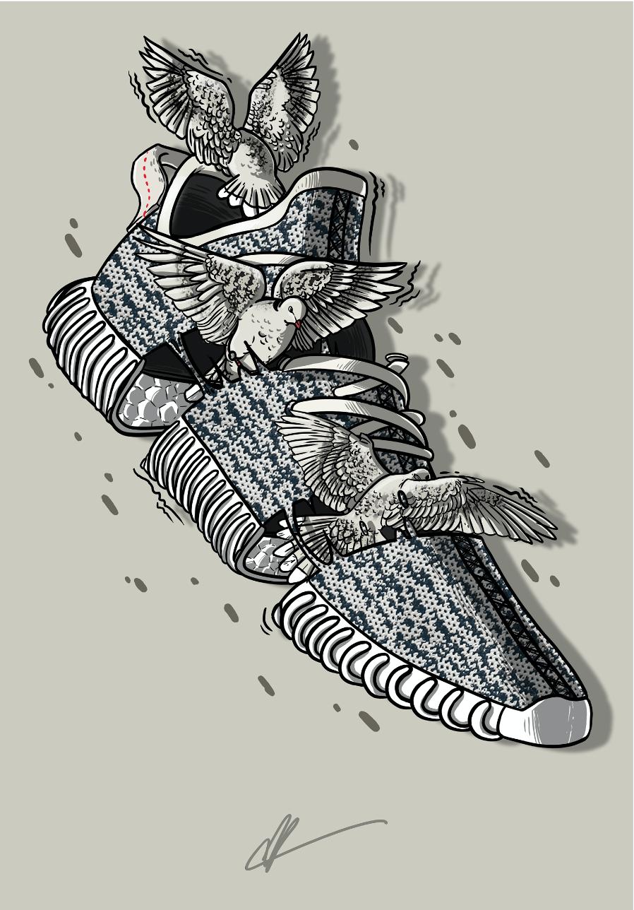 "Sneaker Art Kanye Yeezy 350 ""Turtledove"" Sneaker Art"
