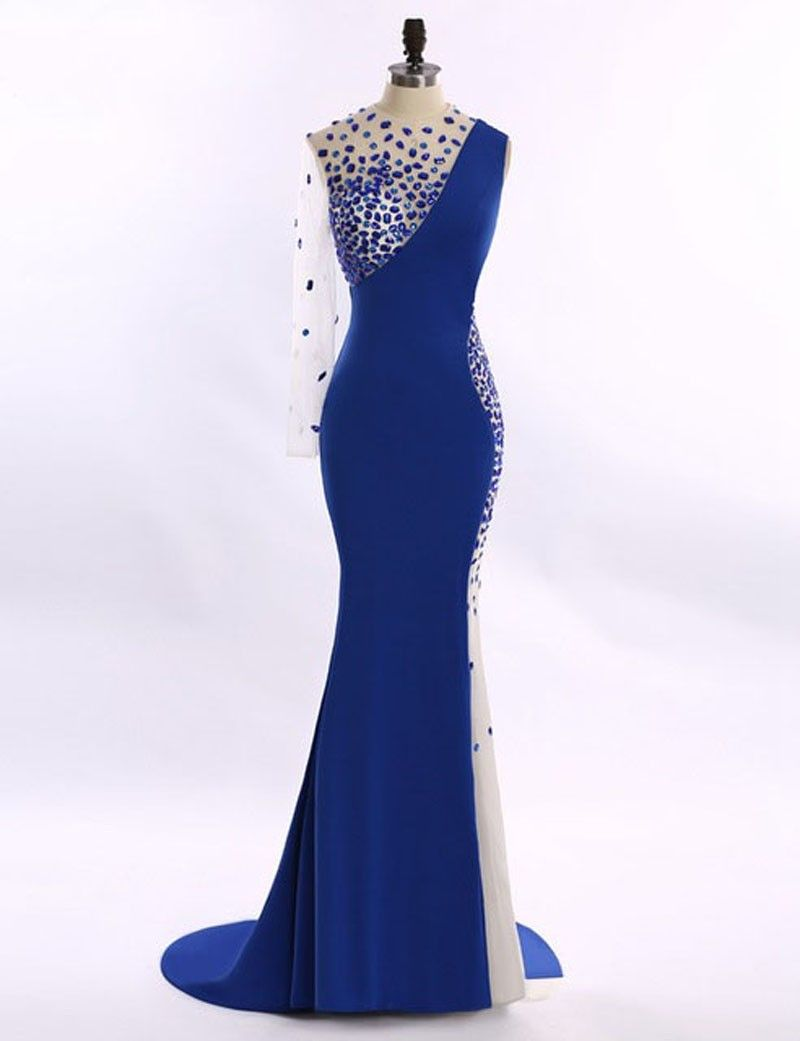 Royal blue mermaid prom gowns floor length evening dresses plus size