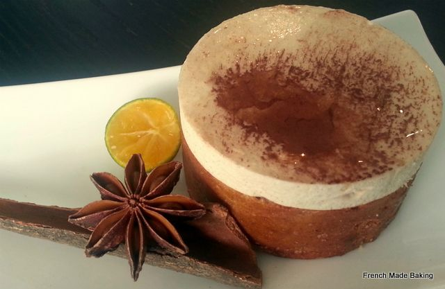 Sahara: a honey & spices cake wrapping a lightly spiced mousse, candied orange zests and dried fruits and a refreshing layer of lemon cream. A great dessert for fall!
